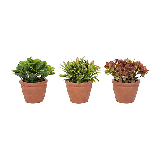 Lavish Home 6 In. Artificial Tall Greenery Arrangement House Plants In Pots - Set Of 3