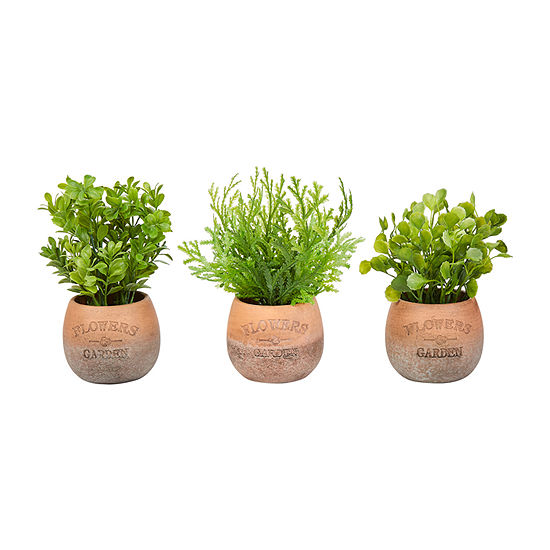 Lavish Home 8 In. Artificial Tall Greenery Arrangement House Plants In Pots - Set Of 3