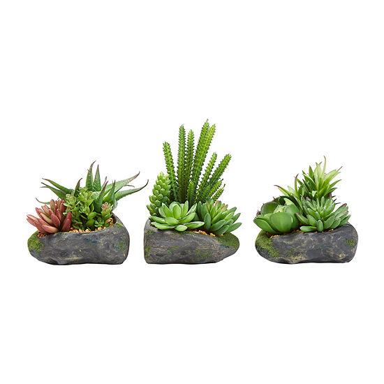 Lavish Home Artificial Succulent Plant Arrangements In Faux Stone Pots - Set Of 3