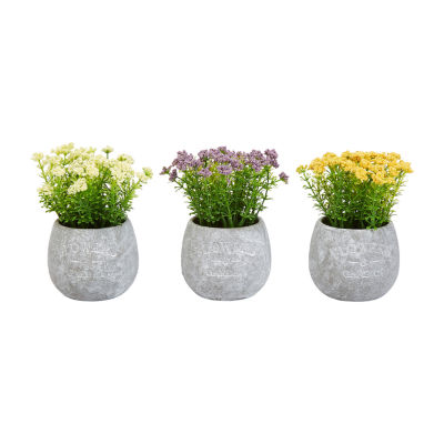 Lavish Home 3-pc. 6.25 In. Assorted Natural Lifelike Floral Faux Flowers - Set Of 3