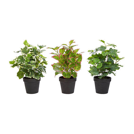 Lavish Home 13.5 In. Lifelike Potted Faux Foliage Arrangement - Set Of 3