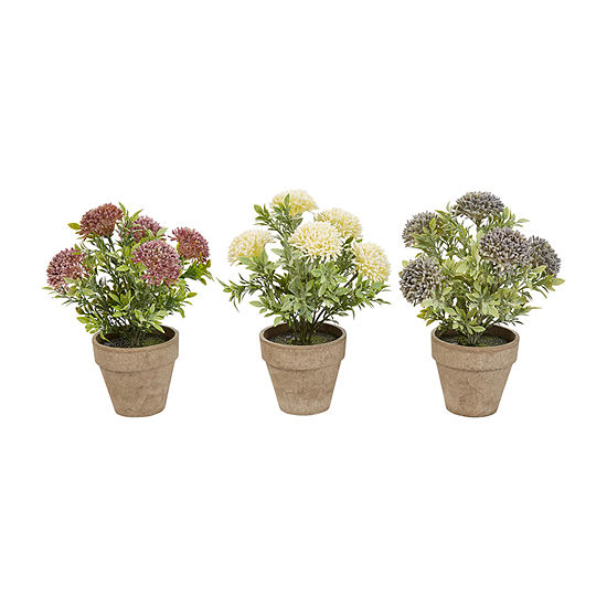 Lavish Home 10 In. Realistic Lifelike Faux Flowers With Pots - Set Of 3