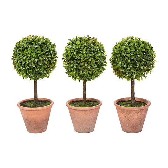 Lavish Home 11.5 In. Potted Realistic Faux Boxwood Topiary - Set Of 3