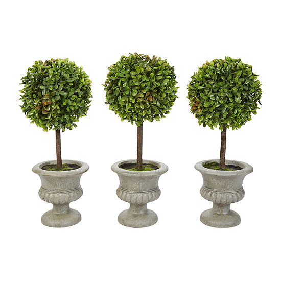 Lavish Home 125 In Faux Boxwood Round Topiary In Urns Set Of 3