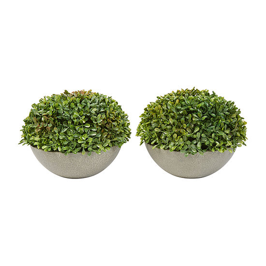 Lavish Home 6 In. Realistic Boxwood Topiary In Stone Bowls - Set Of 2