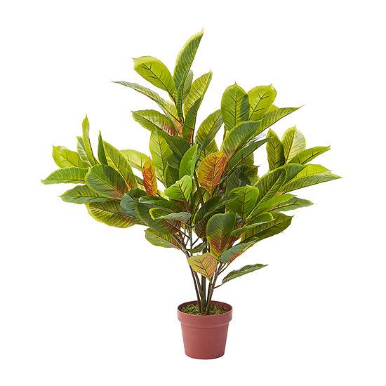 Lavish Home 36 In. Lifelike Faux Croton Plant Arrangement With Pot