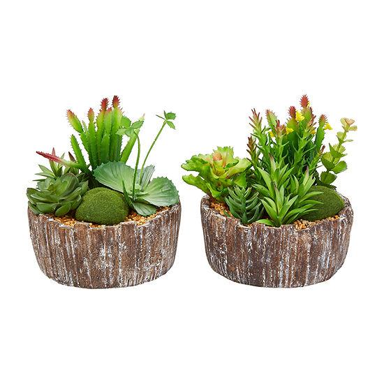 Lavish Home 8 In Faux Succulent With Concrete Planter Set Of 2