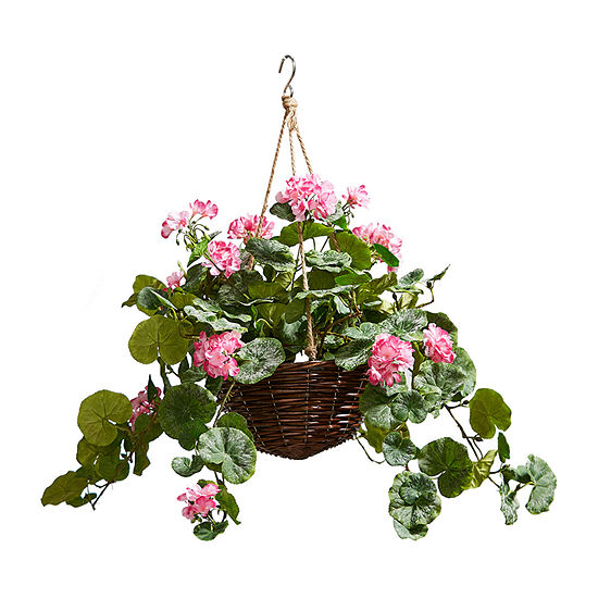 Lavish Home Faux Flower Arrangement With Hanger Basket - Hot Pink