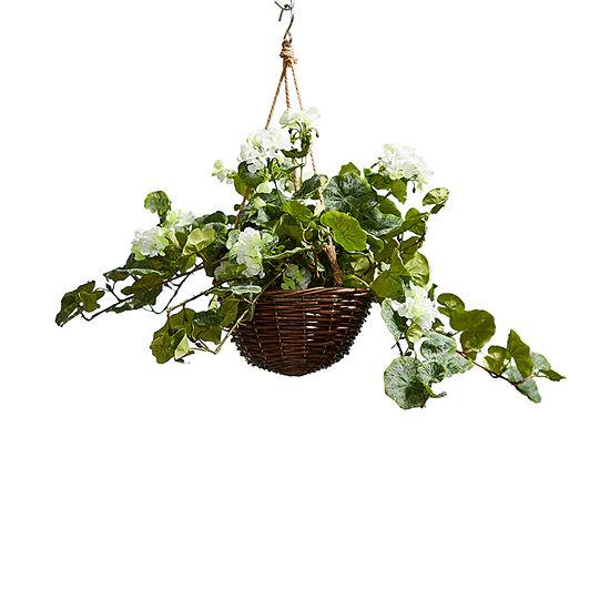 Lavish Home Faux Flower Arrangement With Hanger Basket White