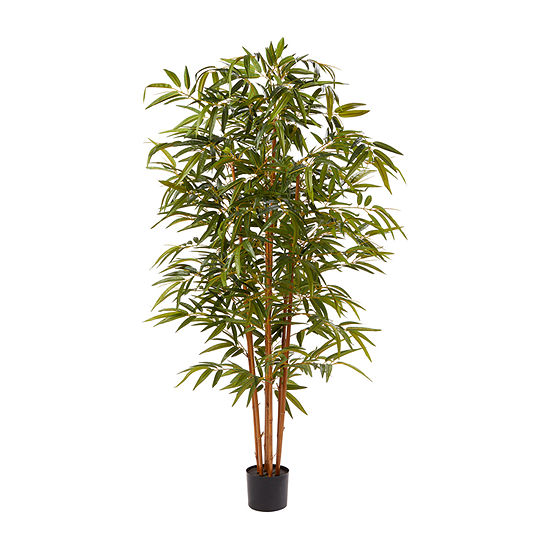 Lavish Home 6 Ft Tall Artificial Bamboo Plant Natural Trunk