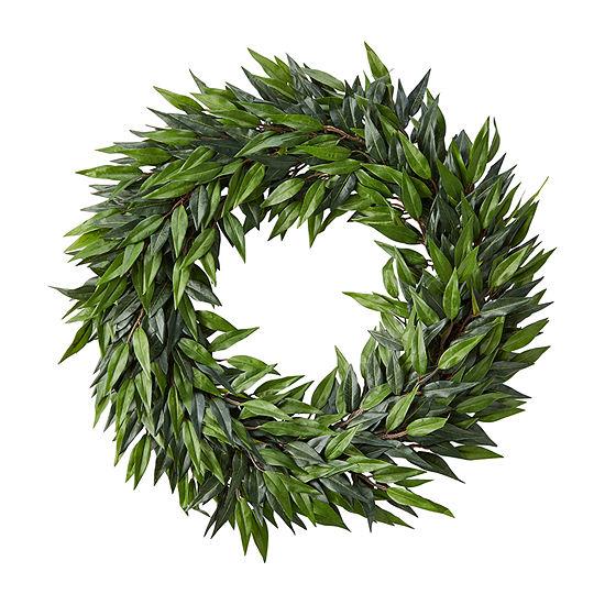 Lavish Home 22 In. Indoor Artificial Microphylla Leaf Wreath Wreath
