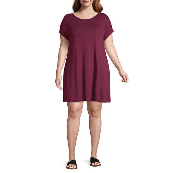Arizona Short Sleeve T-Shirt Dresses - Plus
