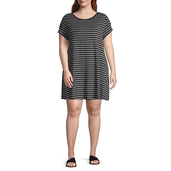 Arizona Short Sleeve Striped T-Shirt Dresses - Juniors Plus