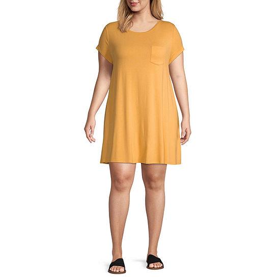 Arizona Short Sleeve T-Shirt Dresses - Juniors Plus