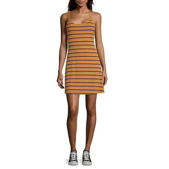 Arizona Sleeveless Striped Fit & Flare Dress-Juniors