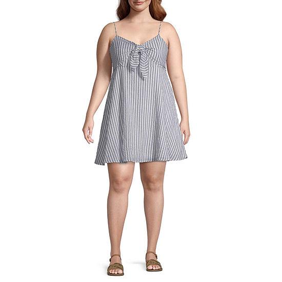 Arizona Sleeveless Striped Fit & Flare Dress-Juniors Plus