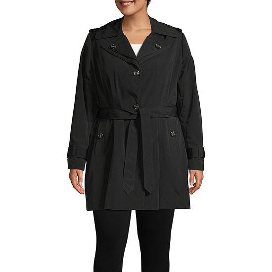 Liz Claiborne Hooded Lightweight Raincoat-Plus