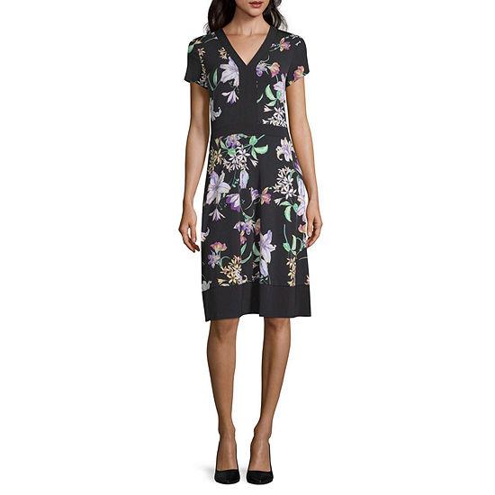 Liz Claiborne Cap Sleeve Mixed Media Dress - Tall