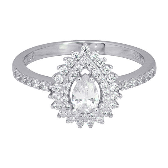 Diamonart Womens White Cubic Zirconia Sterling Silver Pear Cocktail Ring