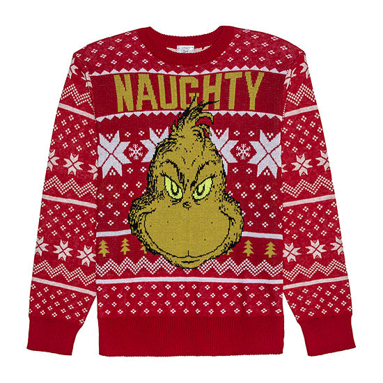 Grinch Christmas Sweater.Mens Grinch Ugly Christmas Sweater Glow In The Dark Eyes