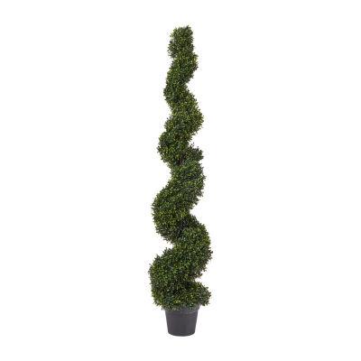 Lavish Home 5 Ft. Decorative Realistic Faux Boxwood Spiral Topiary