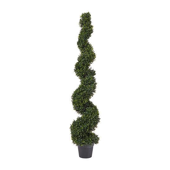 Lavish Home 5 Ft Decorative Realistic Faux Boxwood Spiral Topiary