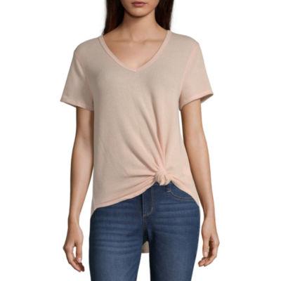 Eyeshadow Womens V Neck Short Sleeve T-Shirt Juniors