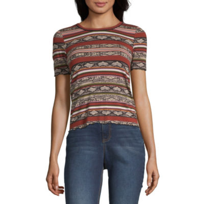 Almost Famous-Womens Crew Neck Short Sleeve T-Shirt Juniors