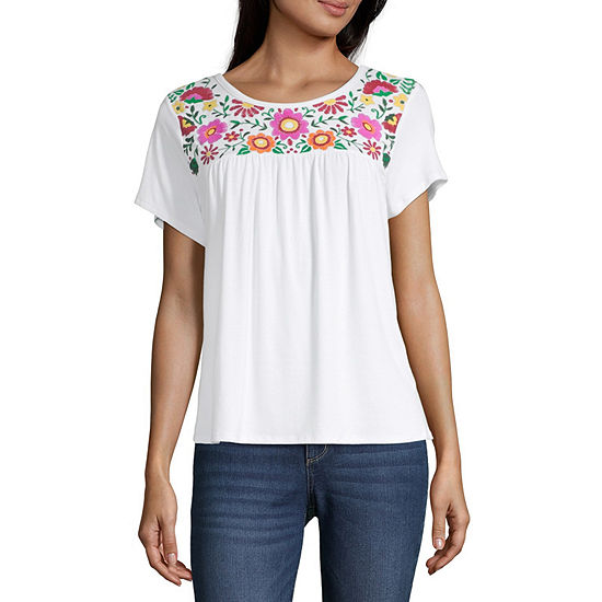 Cut And Paste Womens Crew Neck Short Sleeve Blouse-Juniors