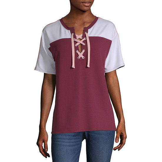 Flirtitude-Womens Crew Neck Short Sleeve T-Shirt Juniors