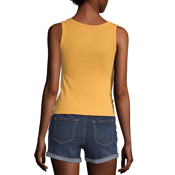 Arizona Juniors Womens Round Neck Sleeveless Tank Top