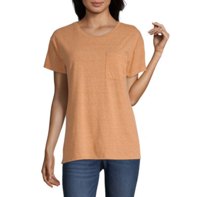Arizona Juniors-Womens Round Neck Short Sleeve T-Shirt