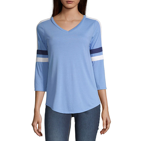 Arizona-Womens V Neck 3/4 Sleeve T-Shirt Juniors