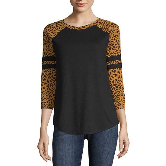 Arizona Juniors-Womens Crew Neck 3/4 Sleeve T-Shirt