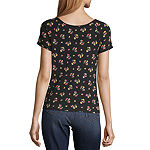 Arizona Womens Square Neck Short Sleeve Babydoll Top-Juniors