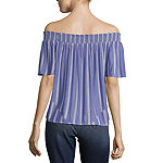 Arizona-Juniors Womens Straight Neck Short Sleeve Blouse