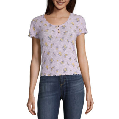 Arizona Womens Round Neck Short Sleeve Henley Shirt-Juniors