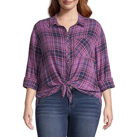 Arizona Womens Long Sleeve Button Front Shirt Juniors Plus