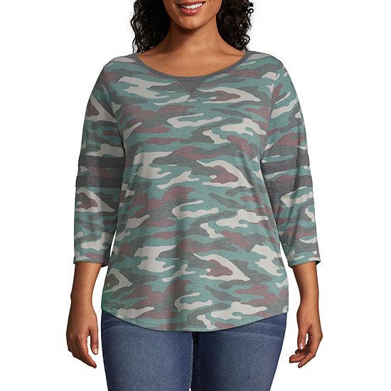 Arizona-Womens Crew Neck 3/4 Sleeve T-Shirt Juniors Plus