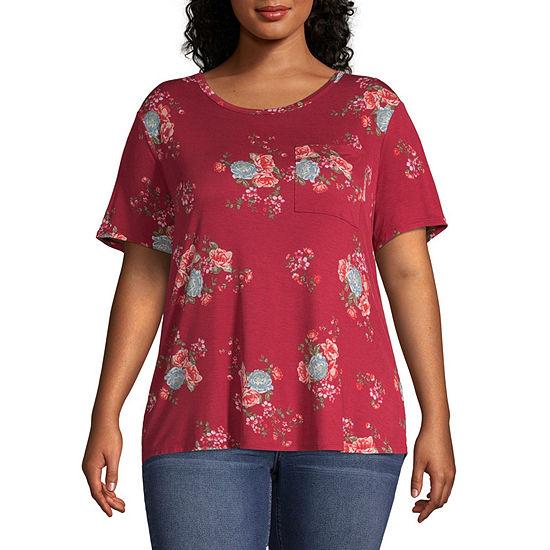 Arizona Womens Round Neck Short Sleeve T Shirt Juniors Plus