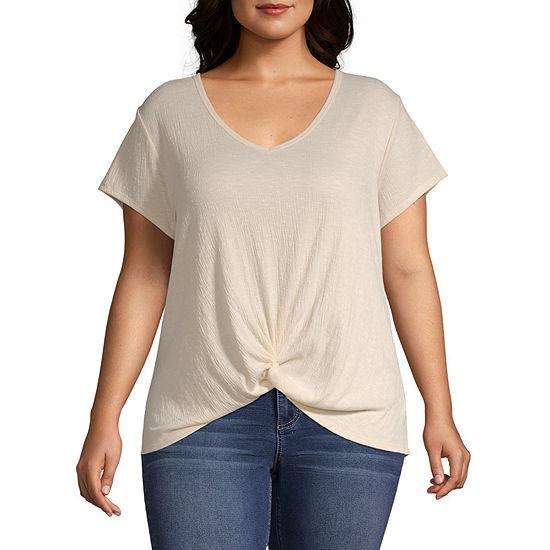 Arizona-Womens V Neck Short Sleeve T-Shirt
