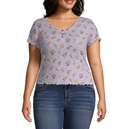 Arizona Short Sleeve Henley Shirt-Juniors Plus