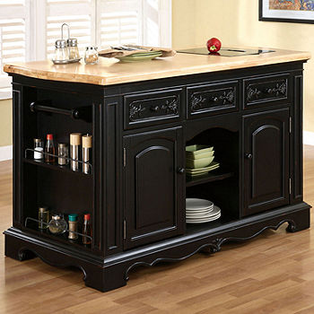 Pennington Kitchen Island With Granite Cutting Surface Jcpenney Color Black