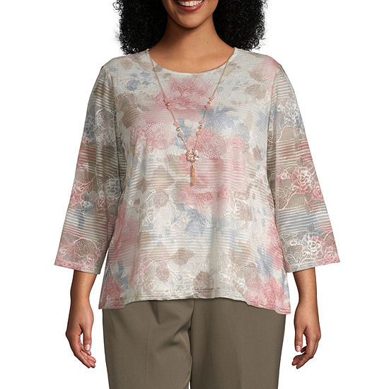 Alfred Dunner Floral Textured Top-Plus
