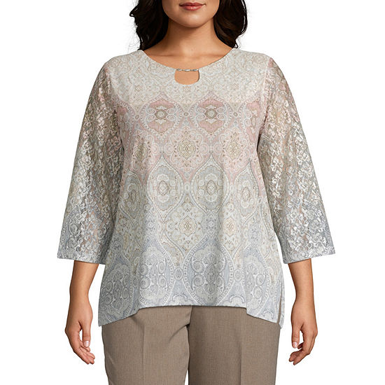 Alfred Dunner Medallion Knit Top-Plus