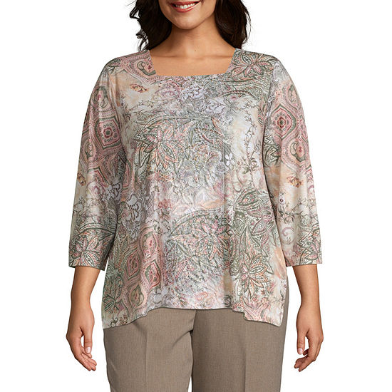 Alfred Dunner Medallion Lace Top-Plus