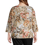Alfred Dunner Botanical Flower Top-Plus