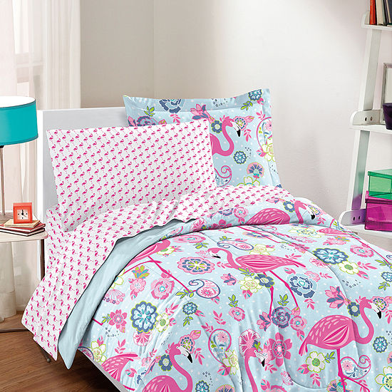 Dream Factory Flamingo Complete Comforter and Sheet Set