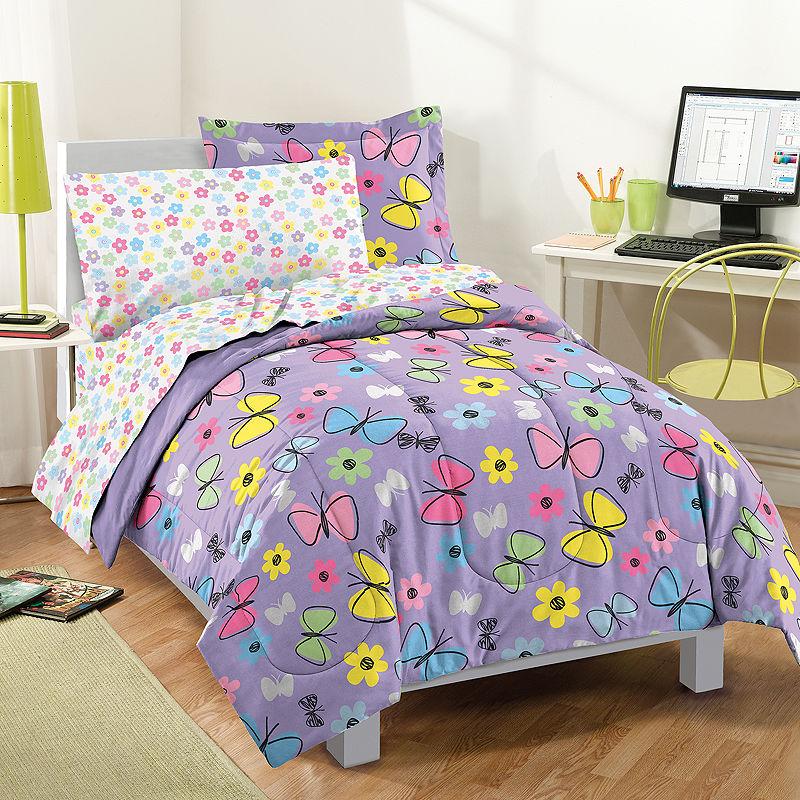 Dream Factory Sweet Butterfly Comforter Set, Purple, Twin