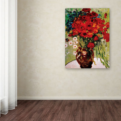 Daisies and Poppies Canvas Wall Art